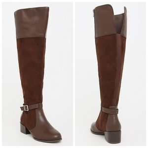 torrid Shoes - Torrid Brown Over The Knee Faux Suede Boots 10W